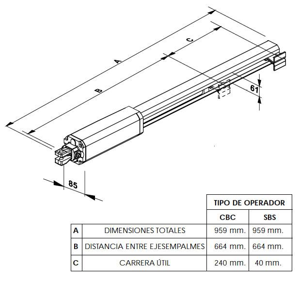 Dimensiones motor FAAC