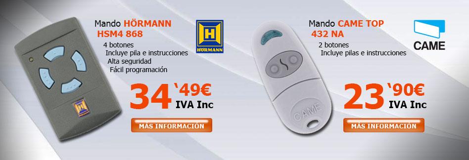 Mandos Garaje hormann HSM4 y Came Top 432
